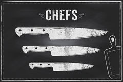 Cuchillo de los cocineros Diseño del ejemplo de la tiza del bosquejo del vector fotos de archivo libres de regalías