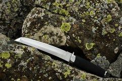 Cuchillo de Tanto en una roca Imagen de archivo libre de regalías