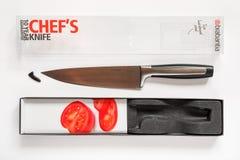 Cuchillo del cocinero de Brabantia hecho del alto acero de vanadio del molibdeno del carbono Cuchillo de cocina agudo profesional imágenes de archivo libres de regalías