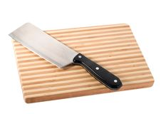 Cuchillo en la tajadera Fotografía de archivo