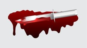 Cuchillo en sangre roja Imagenes de archivo