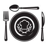 Cuchillo, fork, cuchara y placa Foto de archivo libre de regalías