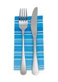 Cuchillo, fork, servilleta imagen de archivo
