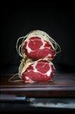 Cuchillo fresco del jamón y del acero Foto de archivo libre de regalías
