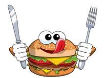 Cuchillo hambriento de la bifurcación del carácter de la hamburguesa de la historieta que lame las tajadas aisladas stock de ilustración