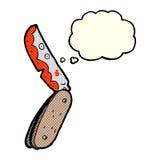 cuchillo plegable sangriento de la historieta con la burbuja del pensamiento stock de ilustración