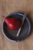 Cuchillo rojo de la pera y placa azul Fotos de archivo libres de regalías