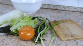 Cuchillo, tabla de cortar, placa y verduras: Col de China, pepino, tomate, eneldo, cebolla verde metrajes