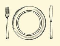 Cuchillo y bifurcación Dibujo de la mano del ejemplo del vector de los cubiertos Fotografía de archivo libre de regalías