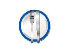 Cuchillo y fork 2 de la placa Fotografía de archivo libre de regalías