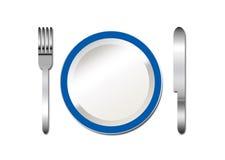 Cuchillo y fork de la placa Imagenes de archivo