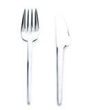 Cuchillo y fork de plata Fotografía de archivo libre de regalías