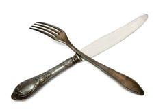 Cuchillo y fork viejos imagen de archivo libre de regalías