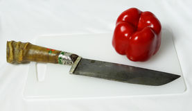 Cuchillo y paprika. Fotografía de archivo