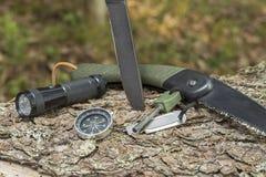 Cuchillo y pedernal en el tocón en el bosque imagenes de archivo