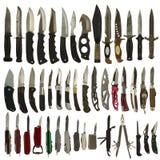 Cuchillos aislados en un fondo blanco Foto de archivo libre de regalías