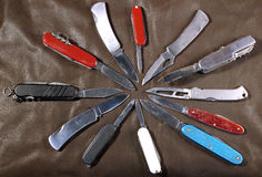 Cuchillos de la pluma en una estrella Fotos de archivo libres de regalías