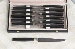 Cuchillos de plata fijados foto de archivo