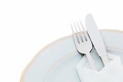 Cuchillos, forkes y placas Imágenes de archivo libres de regalías