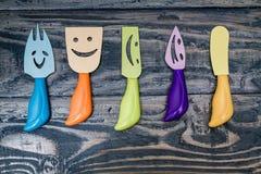 Cuchillos y bifurcaciones con Smiley Faces Imagen de archivo