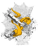 Cuchillos y diseño de la cinta Fotografía de archivo libre de regalías
