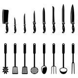 Cuchillos y utensilios de cocina ilustración del vector