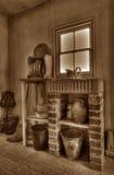 Cucina 1901 in in bianco e nero Fotografia Stock Libera da Diritti