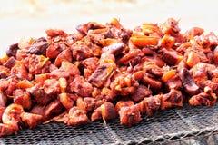 Cucina africana della carne dell'arrosto maiale fotografia stock libera da diritti