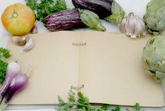 Cucina aperta del libro di ricetta Fotografia Stock Libera da Diritti
