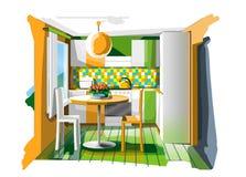 Cucina arancione Fotografia Stock