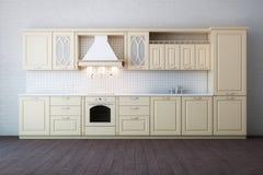 Cucina beige di lusso classica Immagini Stock Libere da Diritti