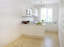 Cucina bianca classica a casa Fotografia Stock Libera da Diritti