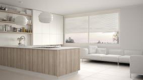 Cucina bianca e di legno moderna con gli scaffali e gabinetti, sofà e finestra panoramica Salone contemporaneo, archite minimalis illustrazione di stock