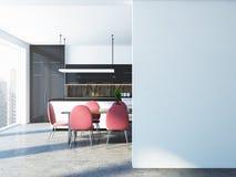 Cucina bianca e nera panoramica, parete in bianco Fotografie Stock