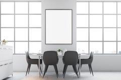 Cucina bianca, finestre quadrate, alto vicino del manifesto Fotografie Stock Libere da Diritti
