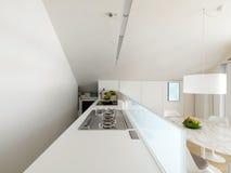 Cucina bianca moderna Fotografia Stock Libera da Diritti