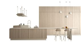Cucina bianca moderna con i dettagli di legno in appartamento di lusso contemporaneo, idea di concetto di interior design, isolat royalty illustrazione gratis