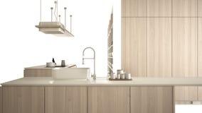 Cucina bianca moderna con i dettagli di legno in appartamento di lusso contemporaneo, idea di concetto di interior design, isolat illustrazione di stock