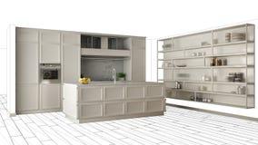 Cucina bianca moderna con l'isola in appartamento di lusso contemporaneo, idea di concetto di interior design, modello nero di sc illustrazione di stock