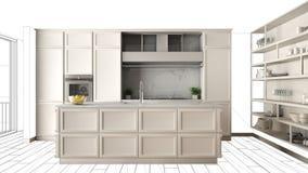 Cucina bianca moderna con l'isola in appartamento di lusso contemporaneo, idea di concetto di interior design, modello nero di sc illustrazione vettoriale