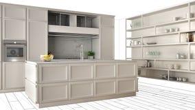 Cucina bianca moderna con l'isola in appartamento di lusso contemporaneo, idea di concetto di interior design, modello nero di sc royalty illustrazione gratis