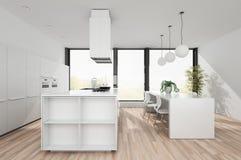 Cucina bianca moderna con zona pranzante illustrazione di stock