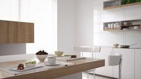 Cucina bianca scandinava con la fine della prima colazione su, minimalistic fotografia stock
