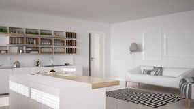 Cucina bianca scandinava, interior design minimalistic fotografia stock