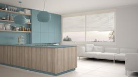 Cucina blu e di legno moderna con gli scaffali e gabinetti, sofà e finestra panoramica Salone contemporaneo, architec minimalista illustrazione di stock