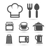 Cucina che cucina le icone su bianco Vettore Fotografie Stock Libere da Diritti