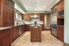 Cucina con cabinetry di legno Fotografia Stock