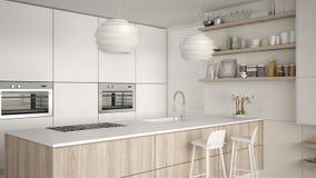 Cucina con gli scaffali e gabinetti bianchi e di legno moderni, isola con i panchetti Salone contemporaneo, architettura minimali illustrazione vettoriale