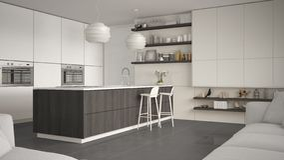 Cucina con gli scaffali e gabinetti bianchi, grigi e di legno moderni, isola con i panchetti Salone contemporaneo, minimalista illustrazione di stock