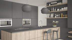 Cucina con gli scaffali e gabinetti grigi e di legno moderni, isola con i panchetti Salone contemporaneo, architettura minimalist illustrazione vettoriale